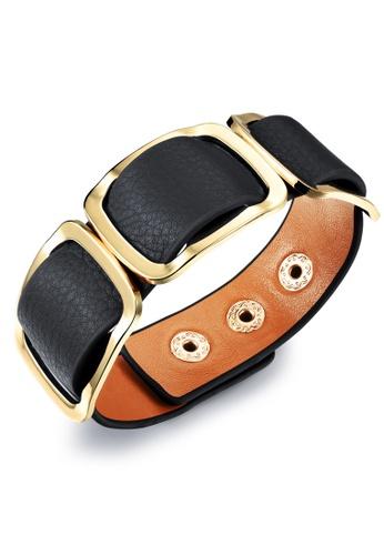 Oxhide black Oxhide Leather Bracelet - 3 Gold Rectangles Black ED76FAC307B1B2GS_1