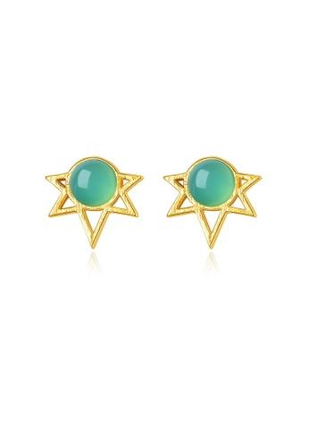 SUNRAIS gold High quality Silver S925 golden star earrings A7F03AC0E6F1B3GS_1