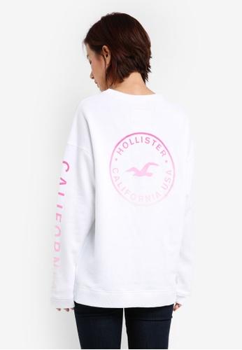 Hollister white Logo Crew Sweatshirt C862CAA5060860GS_1