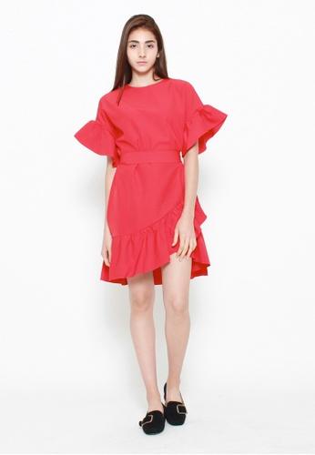 QLOTHE red Keira Ruffle Hem Dress A98B3AAFE1EBE2GS_1
