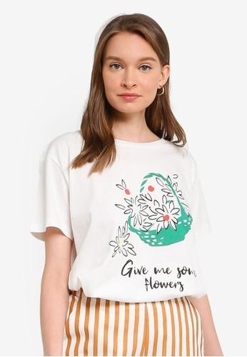 Compania Fantastica white Give Me Some Flowers T-Shirt E309FAA35D8118GS_1