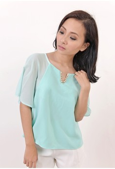 Elise Boxy Top in Mint Green