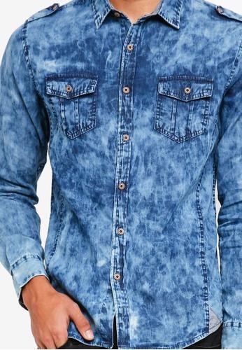 a35b227087 Shop Fidelio Acid Wash Denim Shirt Online on ZALORA Philippines