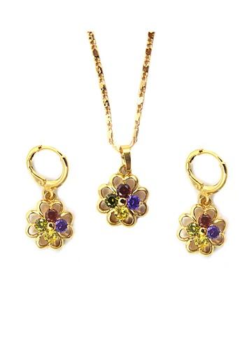 Jewelplace gold Multi Gem Flower Cubic Zircon Jewelery Set JE882AC45KJMPH_1