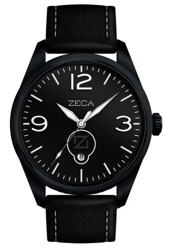ZECA black Zeca Jam Tangan Pria 214M - Kulit - Black ZE074AC28WHZID_1