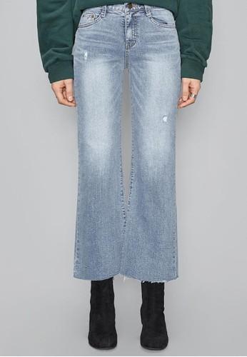 淺藍磨破微喇牛仔esprit分店褲, 服飾, 多色牛仔褲