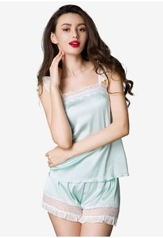 Mint Silky Satin Cami & Shorts Set