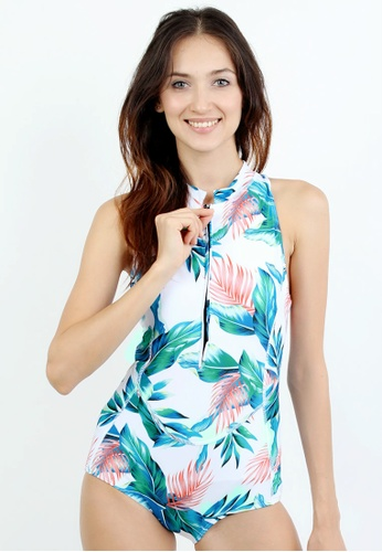f77d5529e8 Shop Shapes and Curves Summer Leaf One Piece Swimsuit Online on ZALORA  Philippines