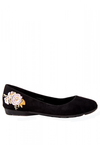 Otto black Embroidered Flats OT407SH0K7SVPH_1
