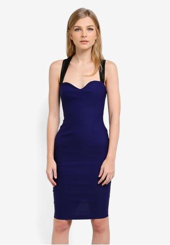 Vesper navy Hayley Satin Twist Back Detail Dress VE733AA0S77YMY_1