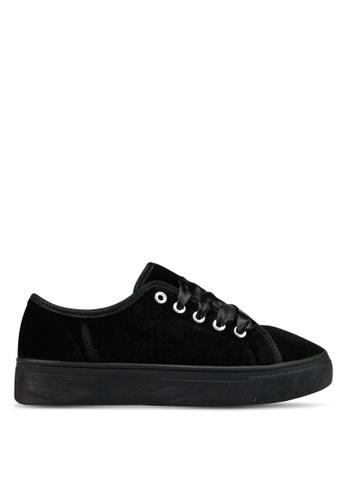OVS 黑色 帆布綁帶運動鞋 BB356SH98A27E5GS_1
