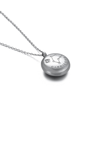 Glamorousky white Fashion and Simple Twelve Constellation Capricorn 316L Stainless Steel Pendant with Cubic Zirconia and Necklace 2DF5BACF4C50BEGS_1