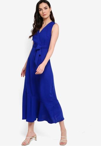 ZALORA WORK blue Sleeveless Wrap Midi Dress 51834AAD23288CGS_1