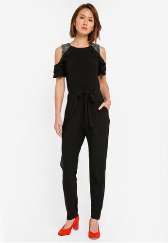 Dorothy Perkins black Stud Shoulder Jumpsuit DO816AA0SFA4MY_1