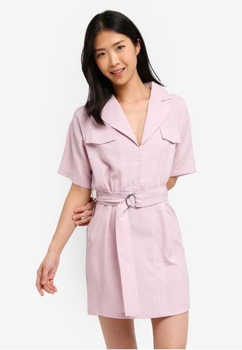 ZALORA BASICS pink Basic Lapel Collar Dress BA306AA3F10057GS_1