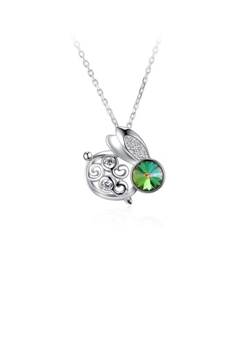 Glamorousky green 925 Sterling Silver Fashion Cute Rabbit Pendant with Green Austrian Element Crystal and Necklace 02F25ACC28CF0CGS_1