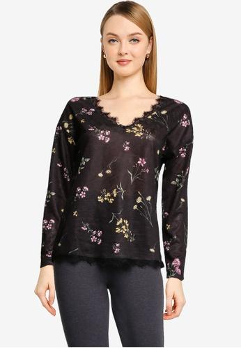 Springfield black Lace Trim Collar Linen Effect T-Shirt 8B06FAA1E5AC52GS_1