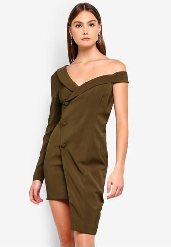 Lavish Alice green Asymmetric Tuxedo Dress A782AAAC52B56CGS_1