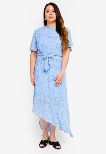 LOST INK PLUS blue Plus Size Tie Front Dress In Blue Spot 5E1EFAAF51D717GS_1