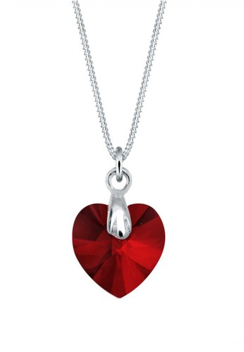 Elli Germany red Perhiasan Wanita Perak Asli - Silver Kalung Heart Crystal 4D9B6AC7DC7502GS_1