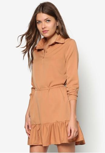 荷葉zalora退貨邊襯衫式洋裝, 服飾, 短洋裝