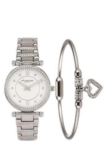 Stuhrling Original white and silver 3906 Crystal Watch & Bracelet Set 67F08AC0CD42DFGS_1