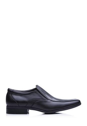 BONIA black Men Black Embossed Short Brogue Shoes F0430SH11316E3GS_1