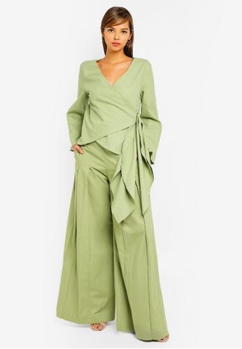 AfiqM green Metali Pant Suit 7E3A3AADAAACB7GS_1