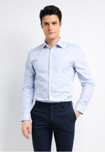 Burton Menswear London blue Muscle Fit Blue Essential Formal Shirt B7565AAAB99C99GS_1