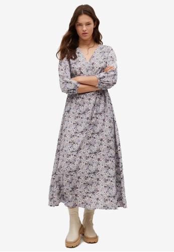 Mango 紫色 Floral Print Dress 59854AA819AA9FGS_1