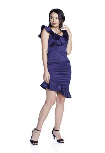 Theory Of Mine blue Natalia Ruffle Peplum Hem Dress E1BA3AAF037D68GS_1