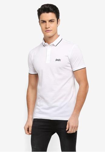 Superdry white Classic Lite Micro Pique Polo Shirt EBEAFAAE89A5F8GS_1