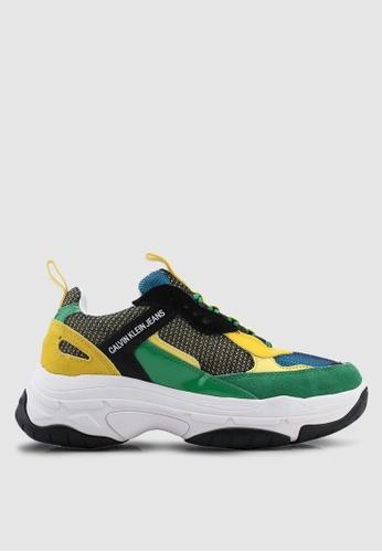 Calvin Klein 黑色 and 黃色 and 綠色 運動鞋 4AD4ESH907EF74GS_1
