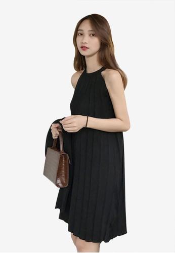 Lara black Women's Halter Knitting Pleat Mini Dress 222B4AA2509805GS_1