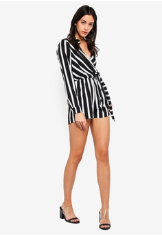 7eec0bfb12d 52% OFF MISSGUIDED Wrap Front Stripe Shirt Playsuit S  59.90 NOW S  28.90  Sizes 10 12