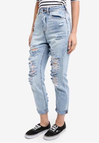 Supre blue The Cool Mom Ultra Destroyed Jeans SU225AA0SHT1MY_1