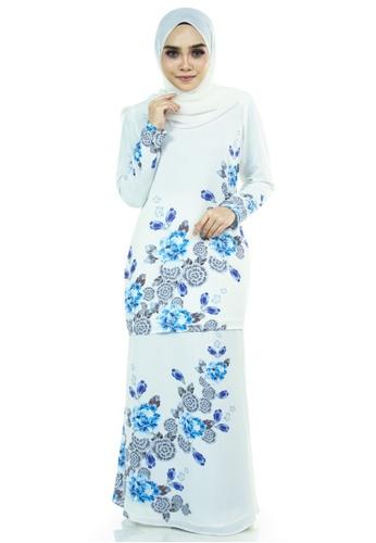 Ashura white and multi Campaka Kurung With Flora Batik Motifs 51D17AA4F11F54GS_1
