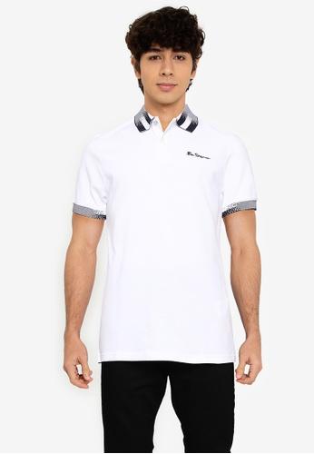Ben Sherman white Collar Interest Polo 9E814AABDAE3B3GS_1