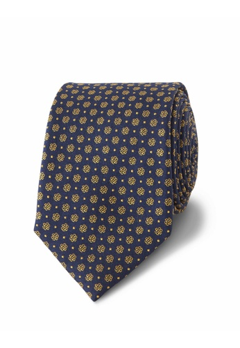 T.M. LEWIN navy T.M.Lewin Navy and Yellow Mini Flower Spot Silk Slim Tie 5872EAC5EA7254GS_1