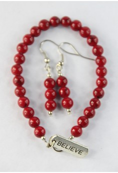 Round Red Corals Bracelet With Earrings