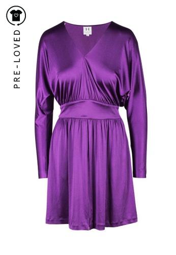 Halston Heritage purple Pre-Loved halston heritage Aubergine Knee Length Flare Dress 4E303AAC5373ADGS_1