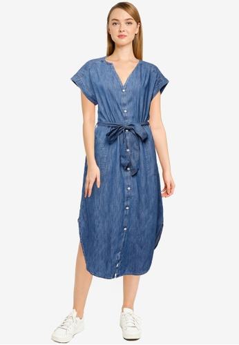 GAP blue Short Sleeve Midi Shirt Dress B5518AA27829B9GS_1