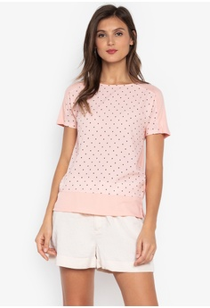 8afcf2bdef89 MARKS & SPENCER pink Printed Short Sleeve Woven Front Tee 40743AA4B15CABGS_1