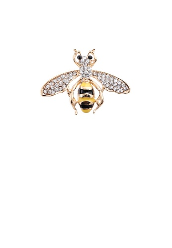 Glamorousky white Simple and Cute Plated Gold Bee Brooch with Cubic Zirconia F8013AC44F7288GS_1