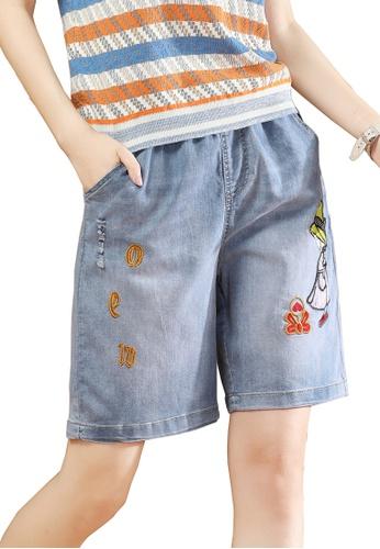 A-IN GIRLS blue Elastic Waist Embroidered Denim Shorts 7A6D8AA550E281GS_1