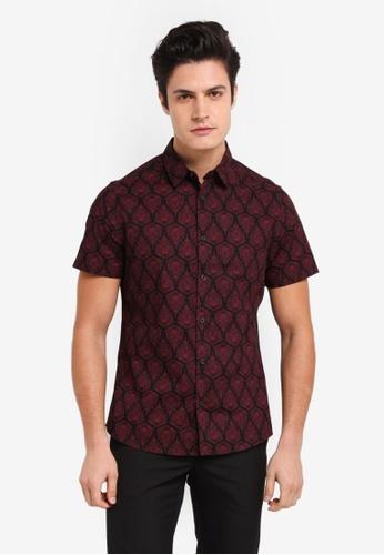 Burton Menswear London black Black & Red Feather Print Short Sleeve Shirt BCFCEAA8061472GS_1