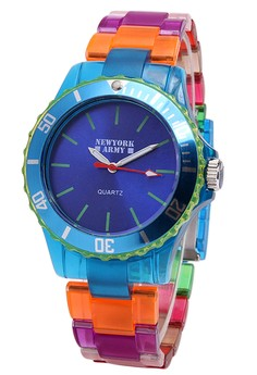 Newyork Army Women's Blue Dial Multicolor Transparent Strap Watch NYA102