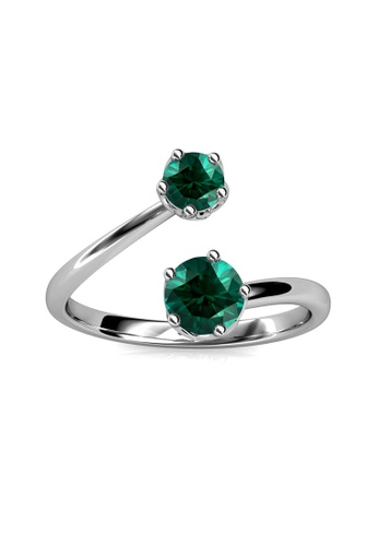 Her Jewellery green Birth Stone Ring (May) - Made with premium grade crystals from Austria 0E6C0AC11557BEGS_1