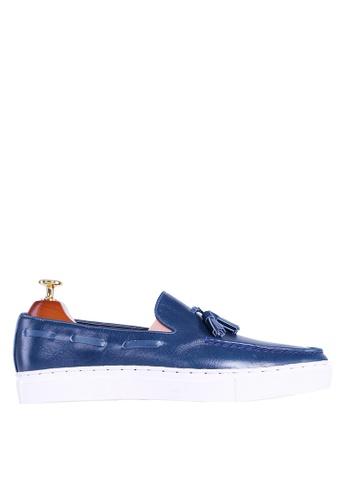 Zeve Shoes blue Zeve Shoes Tassel Sneakers - Blue Leather 73E41SHF619BC0GS_1