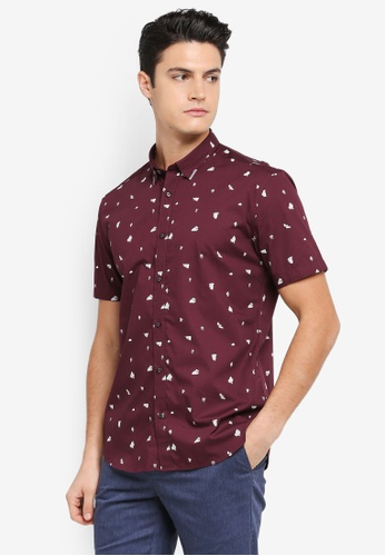 G2000 red Origami Print Short Sleeve Shirt 6FBE0AAAD2AE3AGS_1